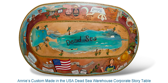 Annie's Custom Made in the USA Dead Sea Warehouse Corporate Story Table