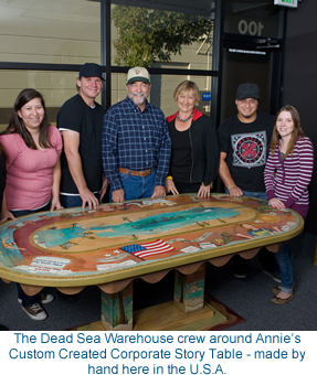 The Dead Sea Warehouse crew around my Custom Created Corporate Story Table - made by hand here in the U.S.A.